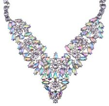 IRIDESCENT AURORA BOREALIS RHINESTONE Gold Art Deco Pendant Statement Necklace