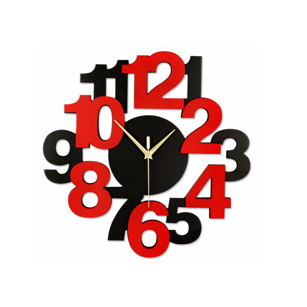 3d 157 Inch Decorative Unique Number Wall Clock Black Red Wfree
