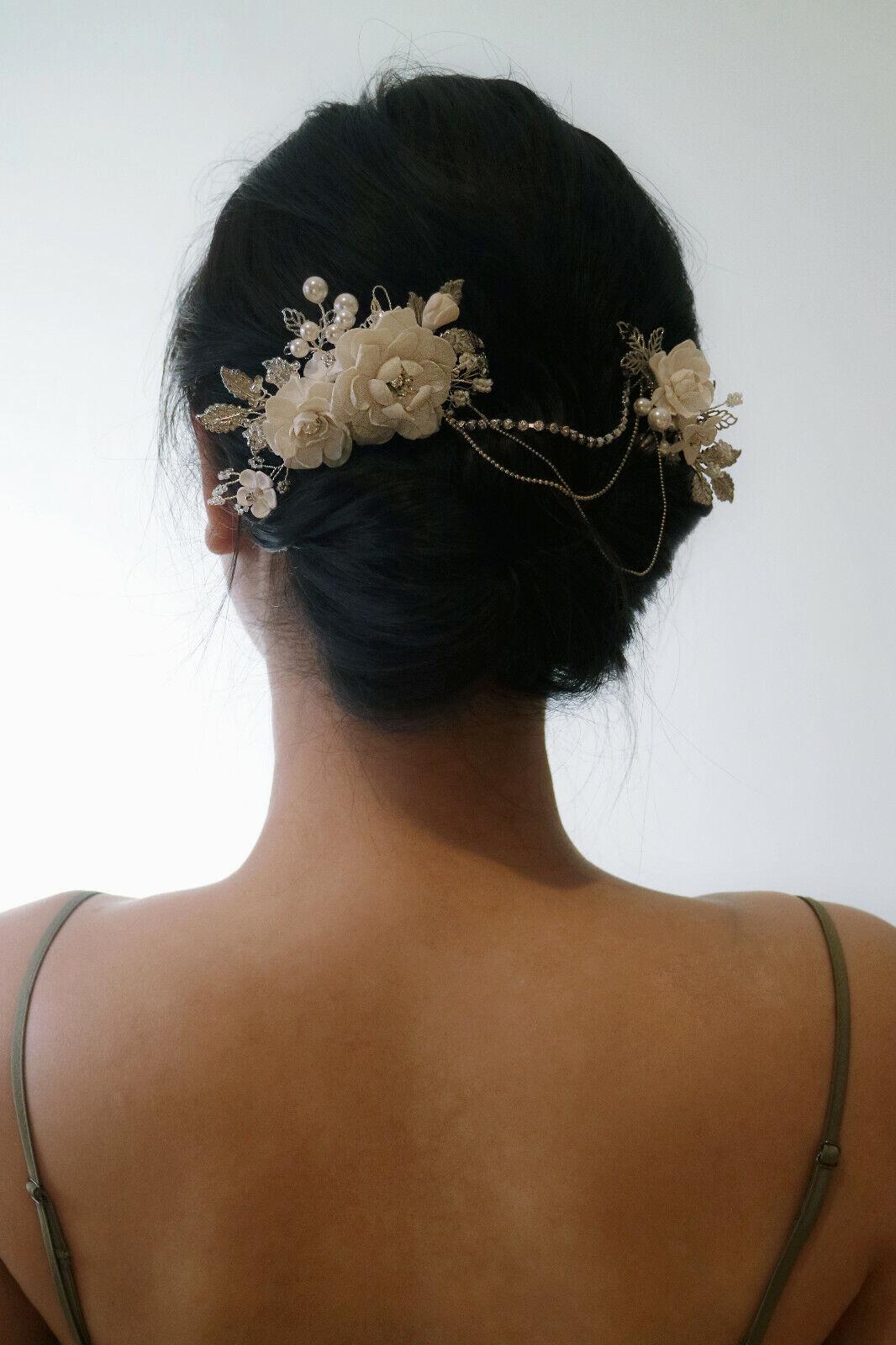 Dual Floral Headpiece w. Swarovski Crystals & Pearl in Silver | Handmade