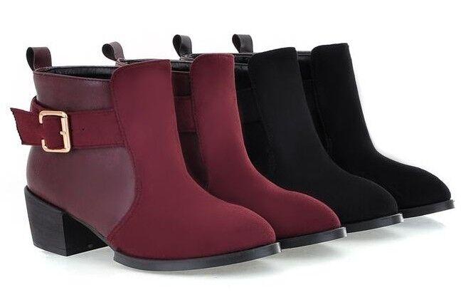 Stivaletti stivali scarpe donna tacco moda 5 cm moda tacco simil pelle caldi comodi  9053 cac095