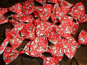 Pack-Of-24-XL-Christmas-Dog-Grooming-Top-Knot-Bows-SNOWMAN-RED-DESIGN