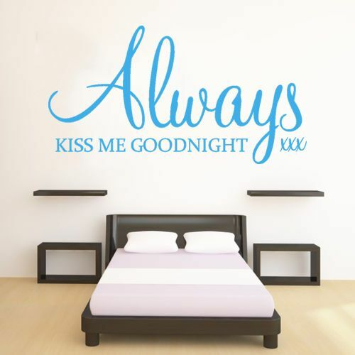 bedroom lounge love romantic ALWAYS KISS ME GOODNIGHT wall art quote sticker