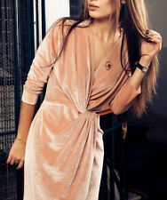 ZARA VELVET CROSSOVER FRONT DRESS TUNIC SAMTKLEID WICKEL KLEID TUNIKA SIZE S