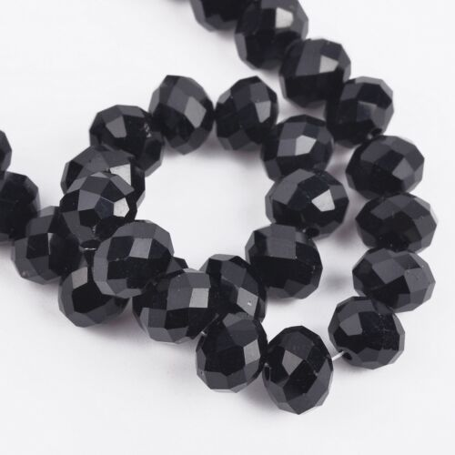 60pcs 8x6mm Rondelle Faceted Opaque Crystal Glass Loose Spacer Beads
