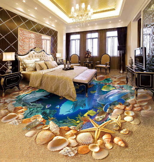 3D Dolphin Shell 731 Floor WallPaper Murals Wall Print Decal AJ WALL CA Carly