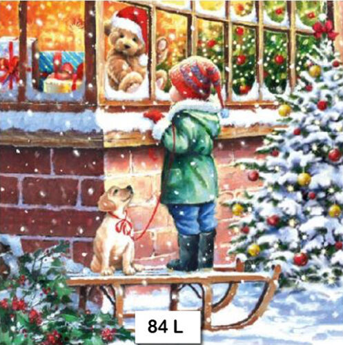 84 CHRISTMAS CHILD TEDDY TWO Individual Paper Luncheon Decoupage Napkins 84