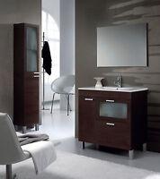 Baltic Bathroom Vanity Base Unit With Mirror And Sink In Dark Brown/wenge