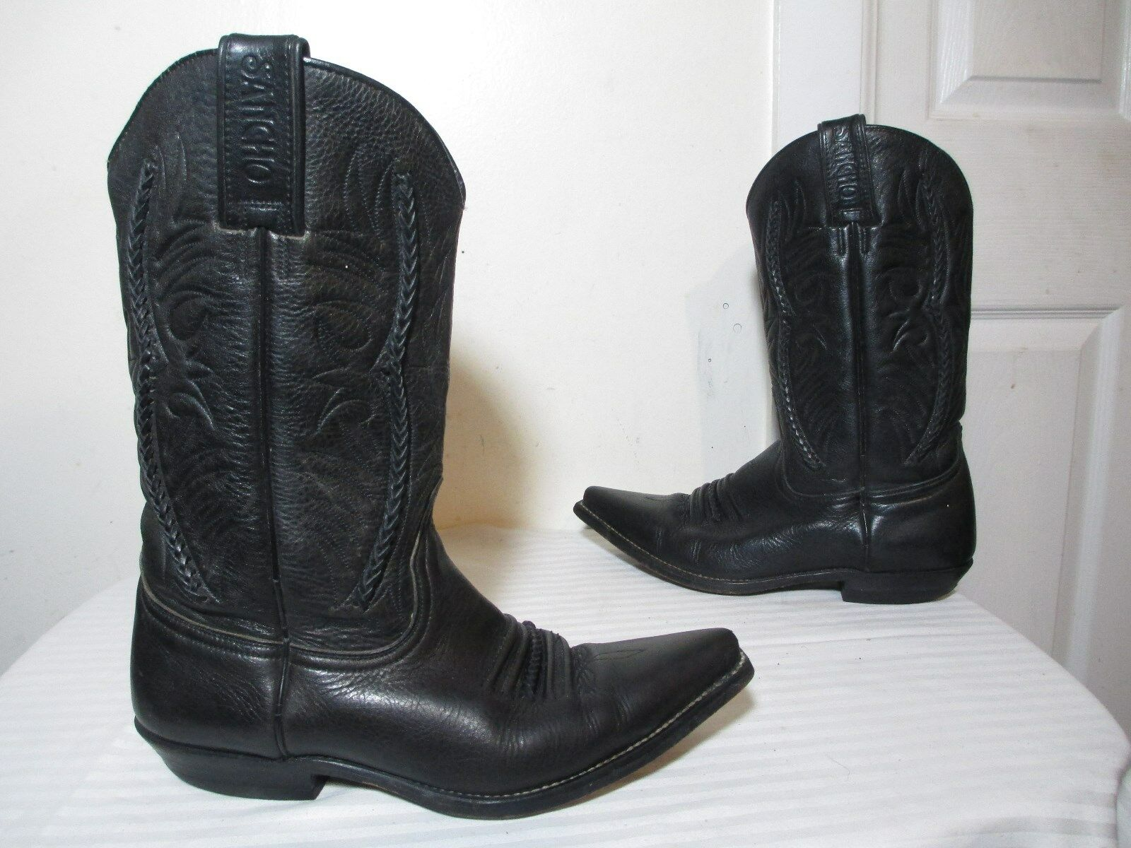 SANCHO WOMEN'S BLACK BRAIDED LEATHER WESTERN BOOTS MADE IN SPAIN SZ 7½