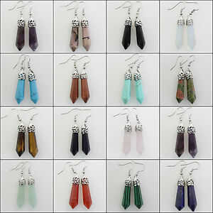 Natural-Crystal-Agate-Jasper-Hexagonal-Healing-Reiki-Chakra-Silver-Hook-Earrings