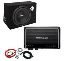 "Rockford Fosgate Prime R1-1x12 12"" Enclosed Subwoofer + R250X1 Amplifier + Kit"