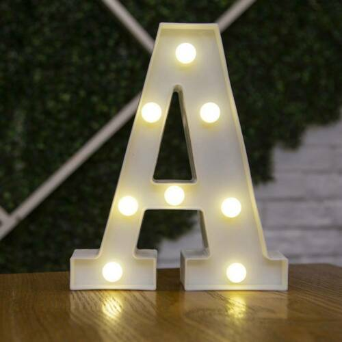 Beleuchtete LED Leuchtbuchstaben Alphabet Nachtlicht Party Hochzeit Dekor 3D Neu