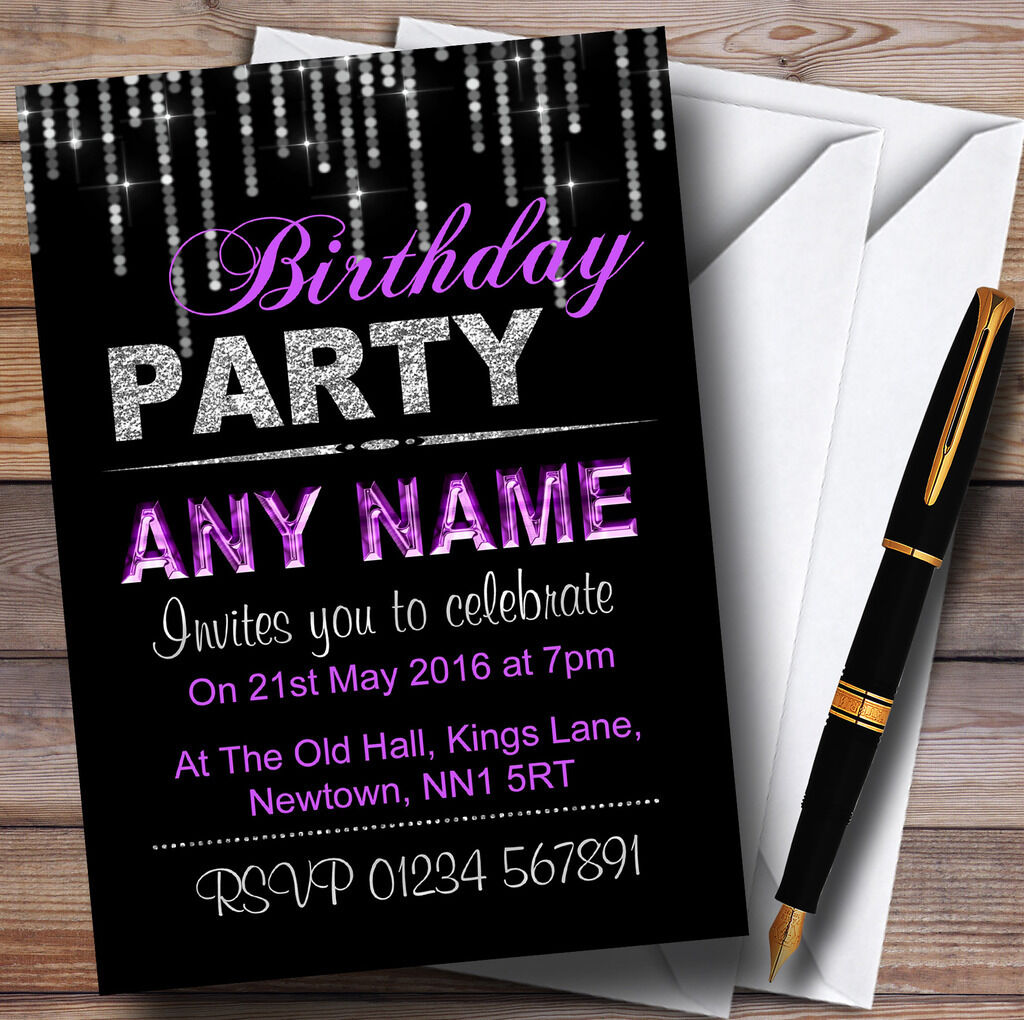 Silber And lila Glitz Birthday Party Personalised Invitations
