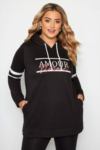 Yours Ropa De Mujer Talla Grande Negro /'Amour Eternal/' Eslogan Sudadera Con Capucha