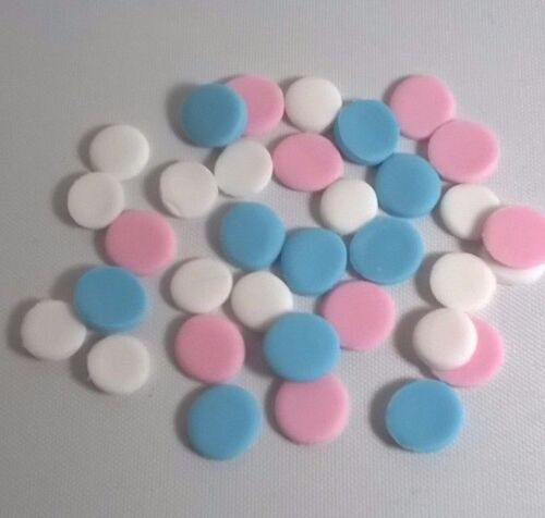 100 EDIBLE POLKA DOTS IN 2 SIZES  cupcake flowers sugar paste birthday christeni