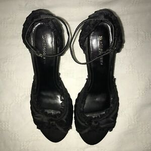 Delicious-Fabric-Dress-Shoes-Heels-With-Ruffles-Bows-Black-Satin-Sz-6-5