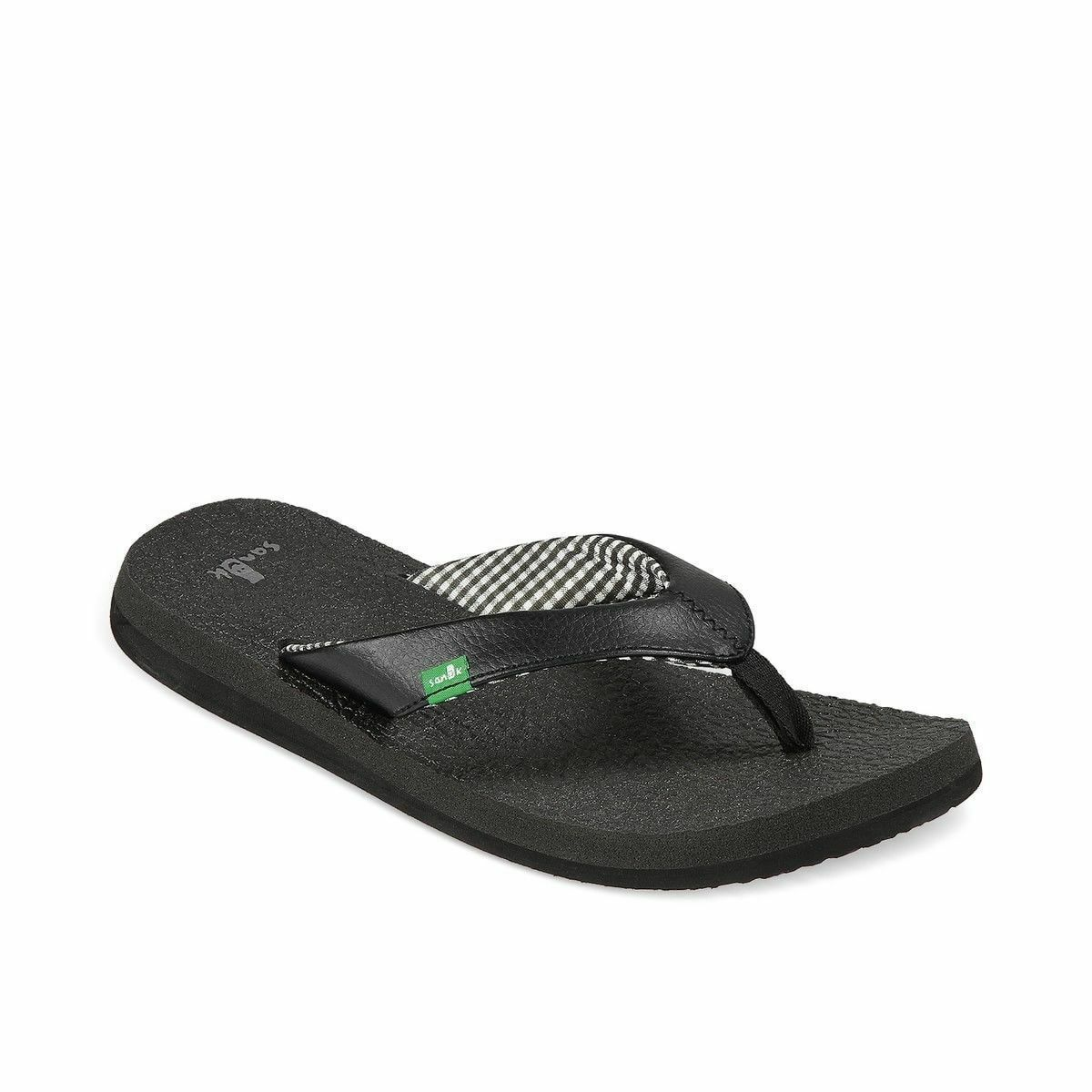 Women Sanuk Yoga Mat Flip Flop Sandal SWS2908 Ebony 100% Authentic Brand New