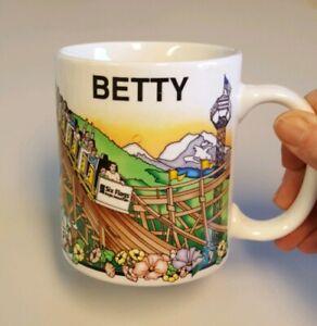 Personalized BETTY Mug Six Flags Magic Mountain Coffee Cup Vtg HAS INSIDE CRACKS