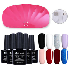 8-Colors-Soak-off-UV-Gel-Polish-amp-Mini-LED-UV-Lamp-Nail-Gel-Dryer-Kit