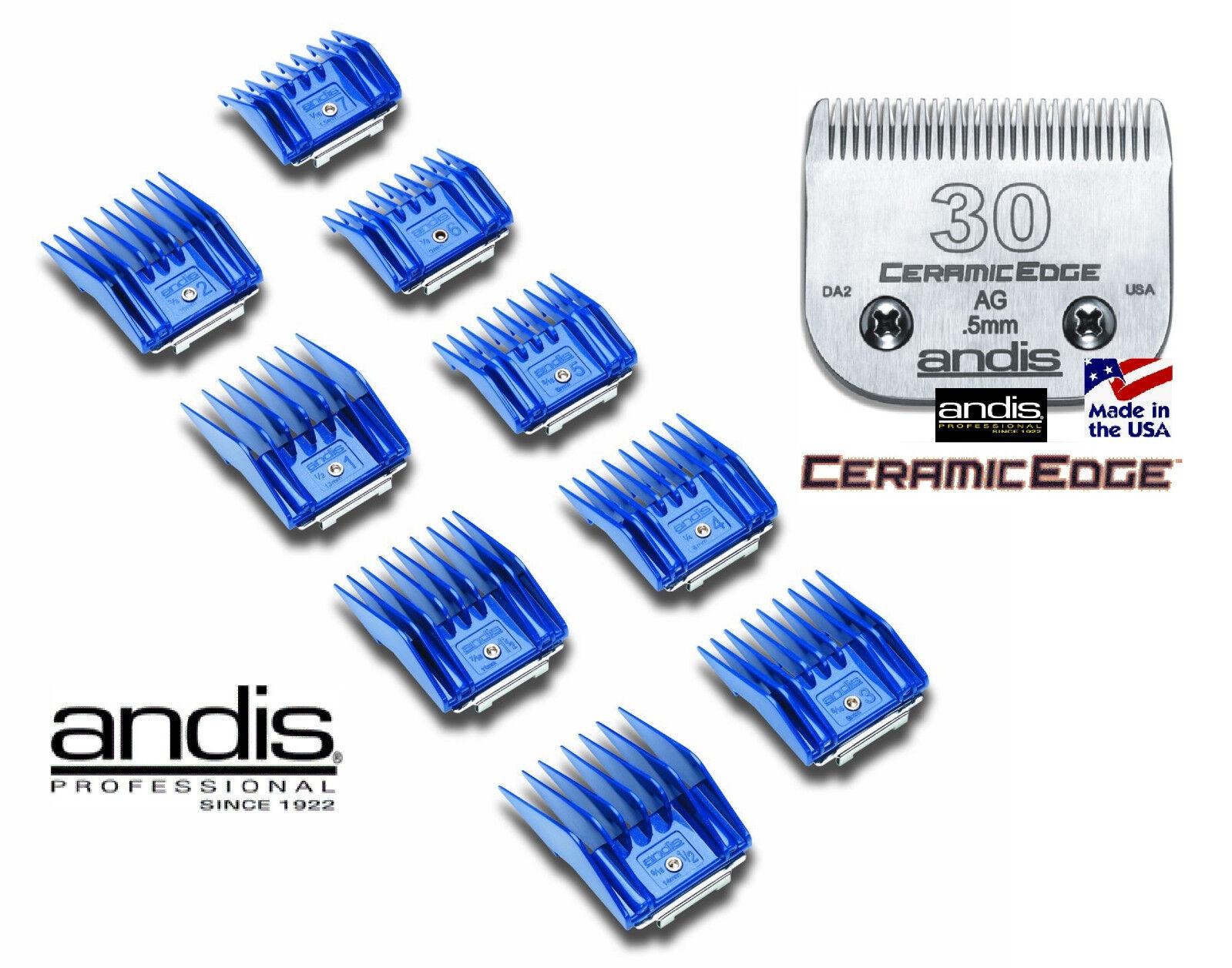 Andis Ag  Bg Clip a Scatto 9 Pc Guida Allegato Comb&30 Ceramicedge