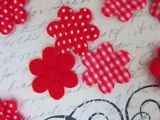 "60 Fabric Flower 1"" Daisy Applique/Trim/Polka Dot/Gingham Plaid/Felt H154-Red"