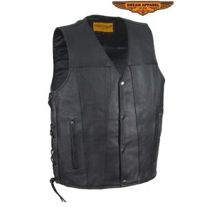 Men's Top Grade Leather Vest With Concealed Carry Gun Pockets - free shipping