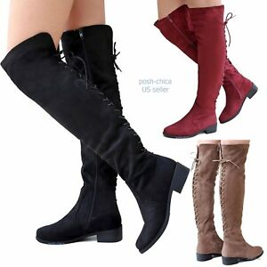 b49413495af New Women TJ55 Faux Suede Lace Up Over Knee High Western Long Flat ...