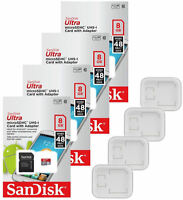 4 PACK - Sandisk Ultra 8GB microSD SDHC Flash Memory Class 10 micro SD Card Lot