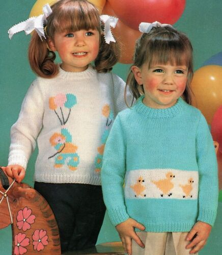 """#299 Girls Charted DK Sweaters 22-28/""""  Vintage Knitting Pattern"""