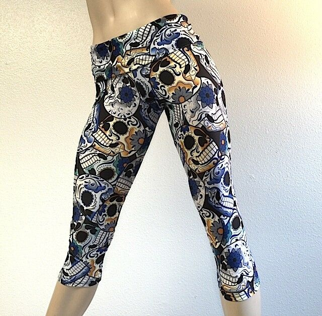 Sugar Skull Pants Hot Yoga Pants Fold Over HIgh Waist Capri Bikram SXYFITNESS