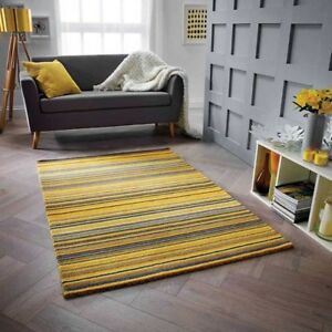 Details About Fine Stripe Rugs In Ochre Golden Yellow Hand Loomed Striped Wool Rug 160x230cm