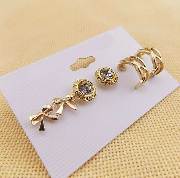 3 Pairs/Set Chic Bowknot Round Crystal Twisted Hoop Lady Party Earrings 2 Color