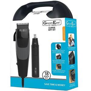 Wahl-GroomEase-Men-039-s-Hair-Clipper-amp-Nose-Ear-Trimmer-18-Piece-Gift-Set-Bundle