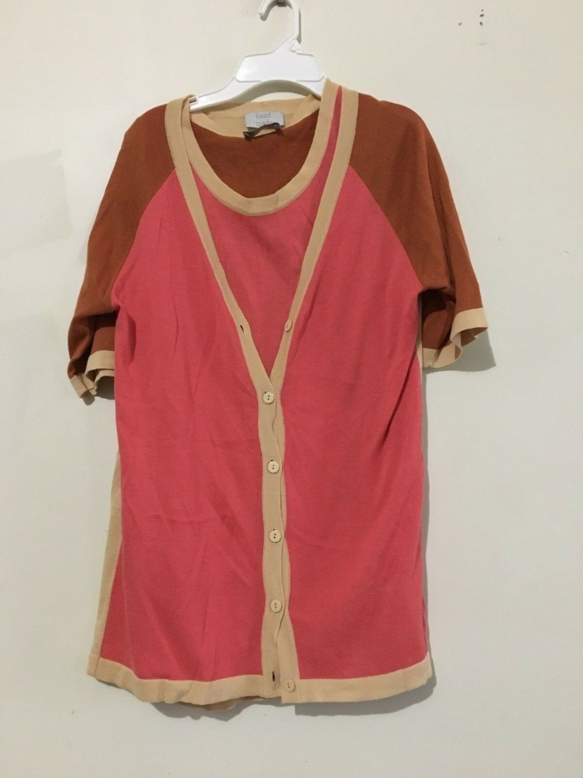 Hand Made Pink Tan Caramel 2 Piece Cardigan Camisole Sweater Women Size 44