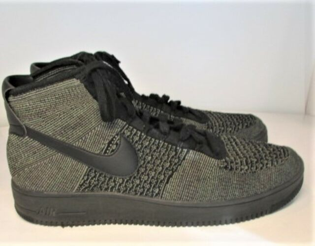 817420 301 UK 6 BLACK GREEN 6.5 7 NIKE AIR FORCE 1 ONE AF1 FLYKNIT MID