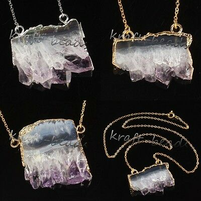 Silver/Gold Natural Druzy Amethyst Quartz Crystals Reiki Stone Pendants Necklace
