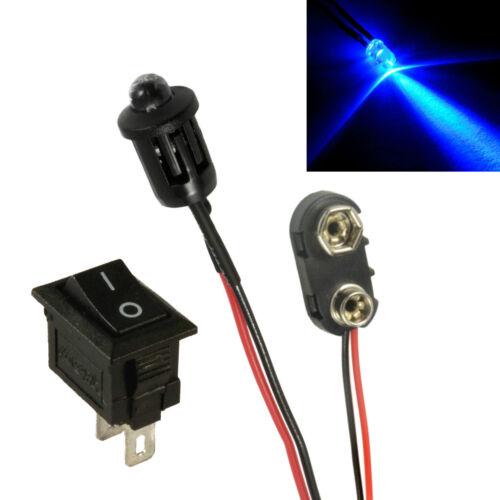 PP3 Anschluss Schalter Kit Blinkende Blaues Auto Attrappe Falsche Alarm LED