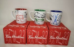 3 Tim Hortons Limited  Coffee Mug Collector 2018 Series Hockey Net * Ski * Canoe