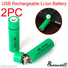 2PC 18650 3.7V 1400mAh USB Rechargeable Li-ion Battery For Flashlight Torch Lamp