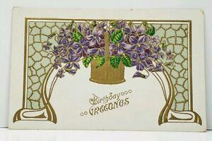 Birthday-Greetings-Golden-Basket-of-Purple-Flowers-c1915-Postcard-J10