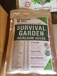 Open Seed Vault Survival Garden Non GMO Heirloom 32 Variety Vegetable Seeds NEW