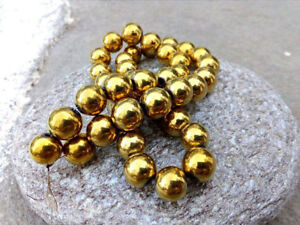 10-mm-Gold-Colored-Round-Hematite-Beads-10-mm-Size-FREE-Shipping