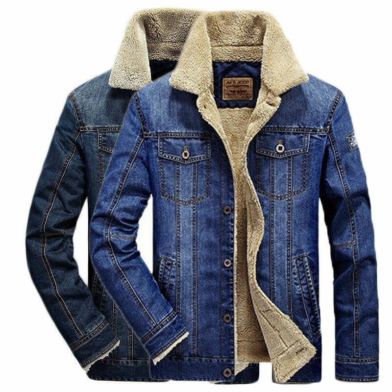 Fashion Mens Casual Fleece Lining Winter Warm Denim Coat Cow