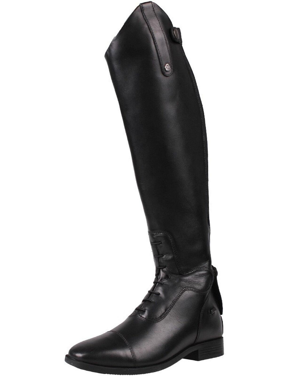 Qhp señora de lujo cuero-reitbotas Verena con más comodidad tamaño 36 - 42 negro
