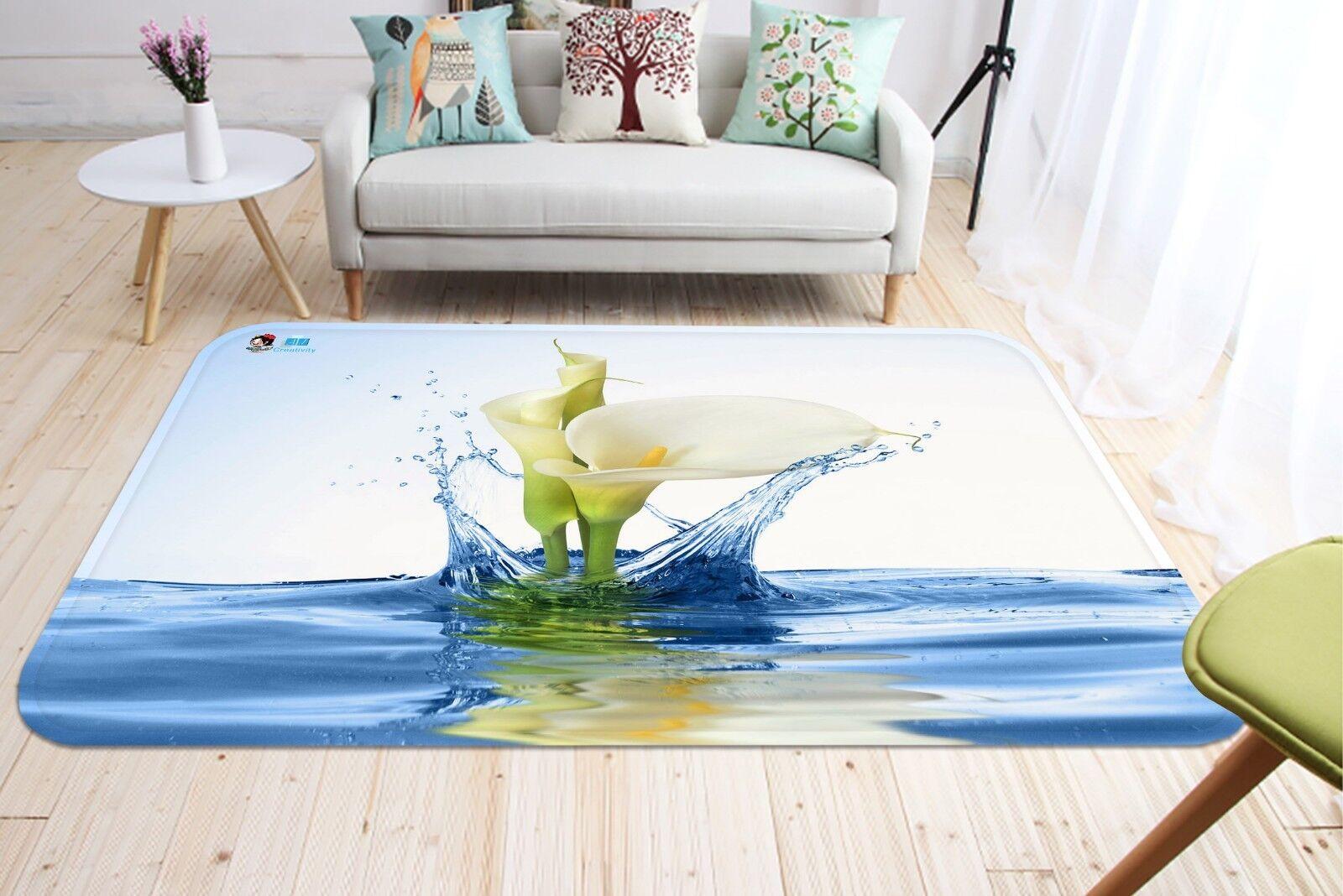3D Callalilie Blaumen 045 Non-Slip Non-Slip Non-Slip Carpet Mat Quality Elegant Carpet DE Summer 94cb44