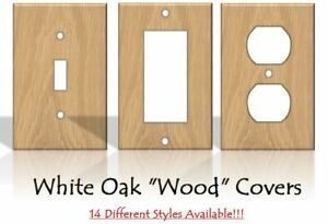 White Oak Wood Light Switch Covers Home Decor Outlet Made From