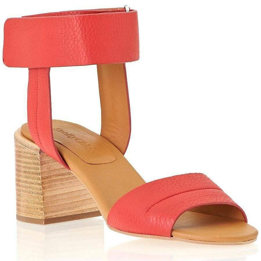 Cfr. Chloe   315 Leather'Anna 'Ankle Cuff City Sandal, rosso EU 35, US 5  risparmia fino al 50%