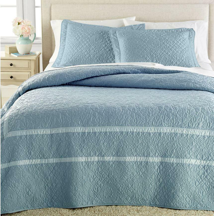 Martha Stewart Flowering Trellis Pillow Shams Pair Slate blueeee Standard