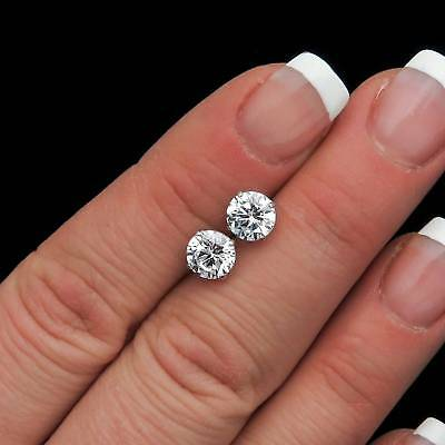 3Ct Brilliant Created Black Diamond Solitaire Stud Earrings Solid 14K White Gold