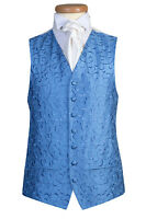 MENS & PAGE BOYS BLUE BELL SWIRL WEDDING DRESS SUIT WAISTCOAT S M L XL 2XL 3XL