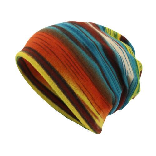 Striped Knit Slouchy Cap Beanie Soft Winter Toboggan Men/'s Work Ribbed Warm Hats